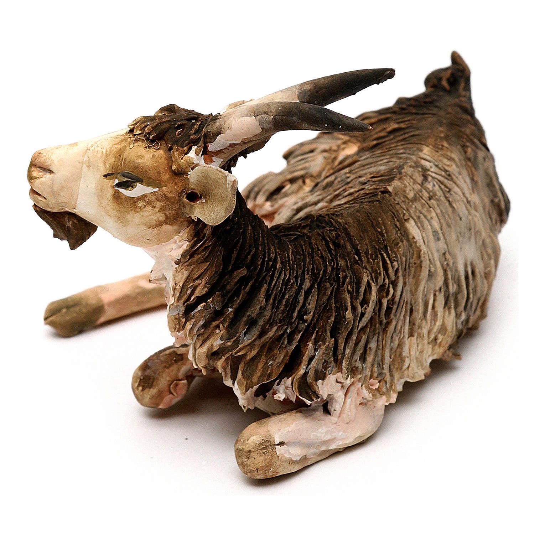 Chèvre couchée 13cm crèche terre cuite Angela Tripi 4