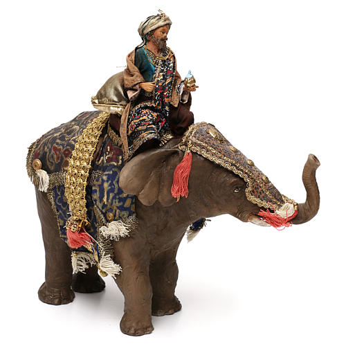 Black Wise Man on elephant, 13cm by Angela Tripi 1