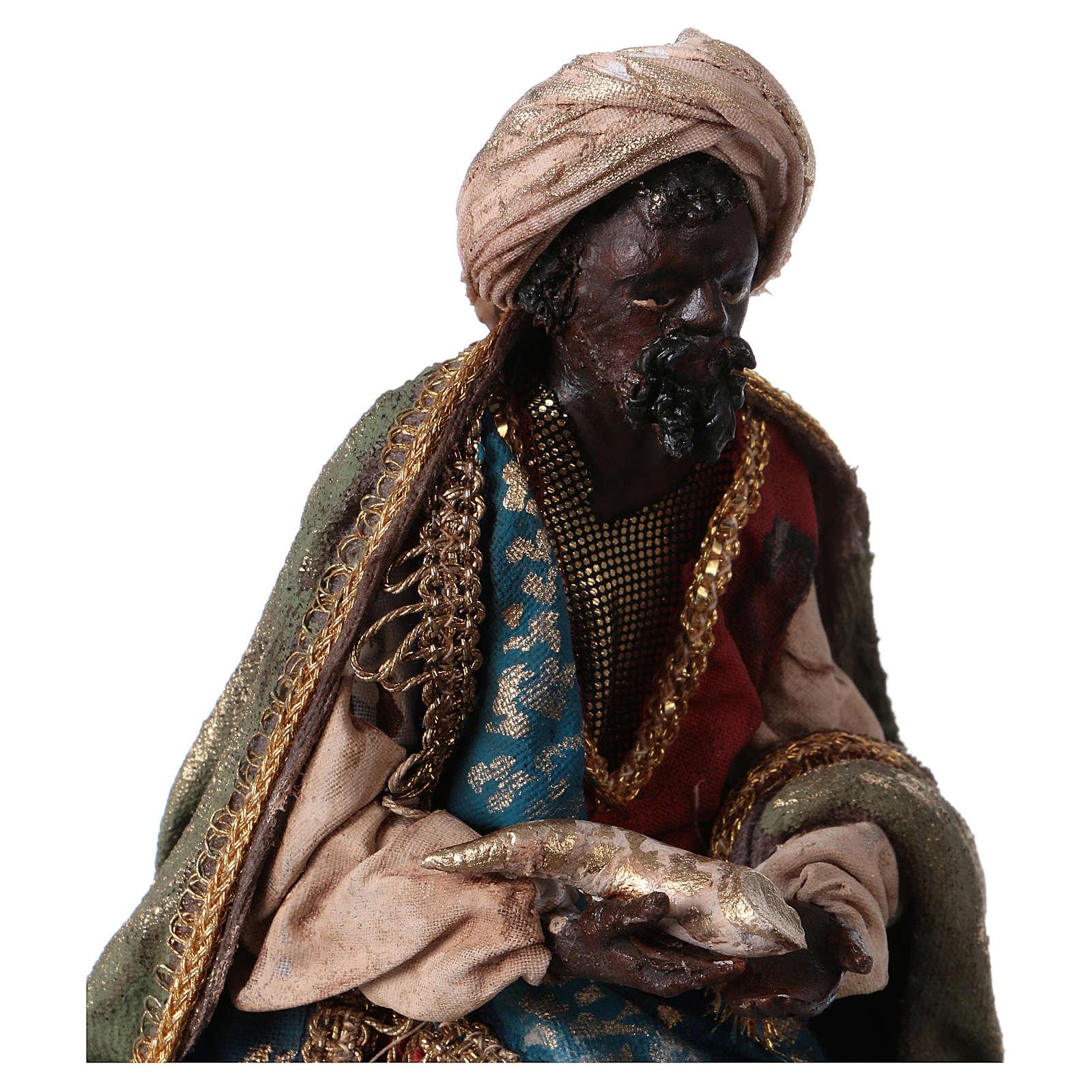Rey Mago Negro Belén 13 cm Angela Tripi terracota 4