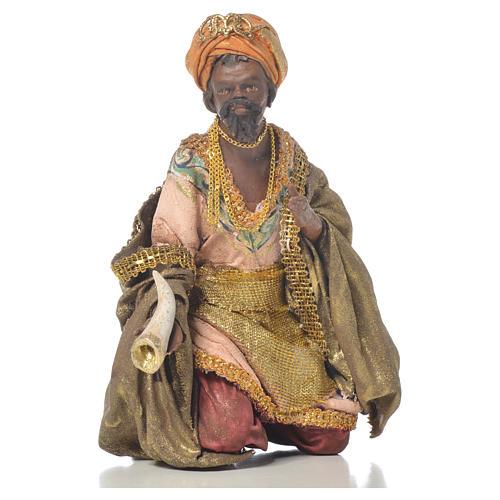Black Wise Man in terracotta, 13cm by Angela Tripi 1