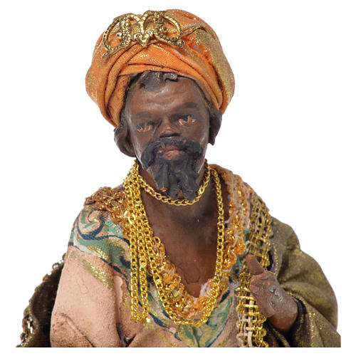 Black Wise Man in terracotta, 13cm by Angela Tripi 5
