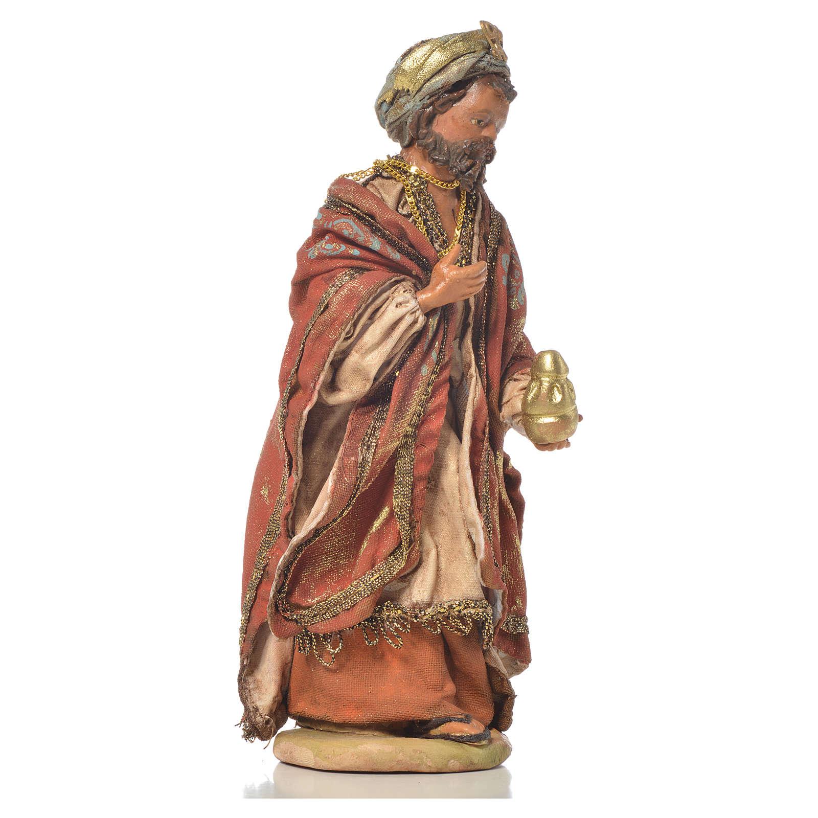 White Wise Man in terracotta, 13cm by Angela Tripi 4