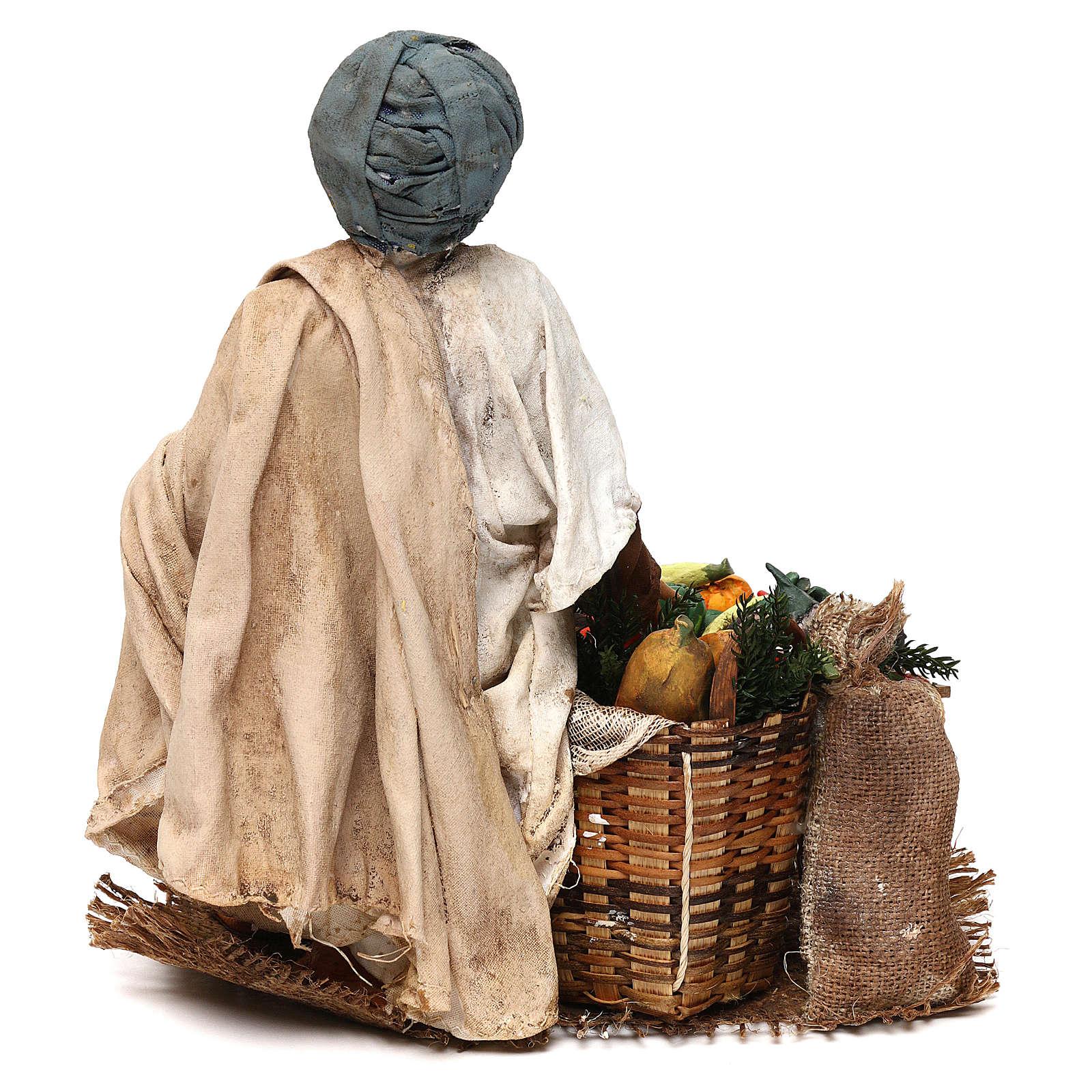 Pastore con ortaggi 18 cm presepe Angela Tripi 4