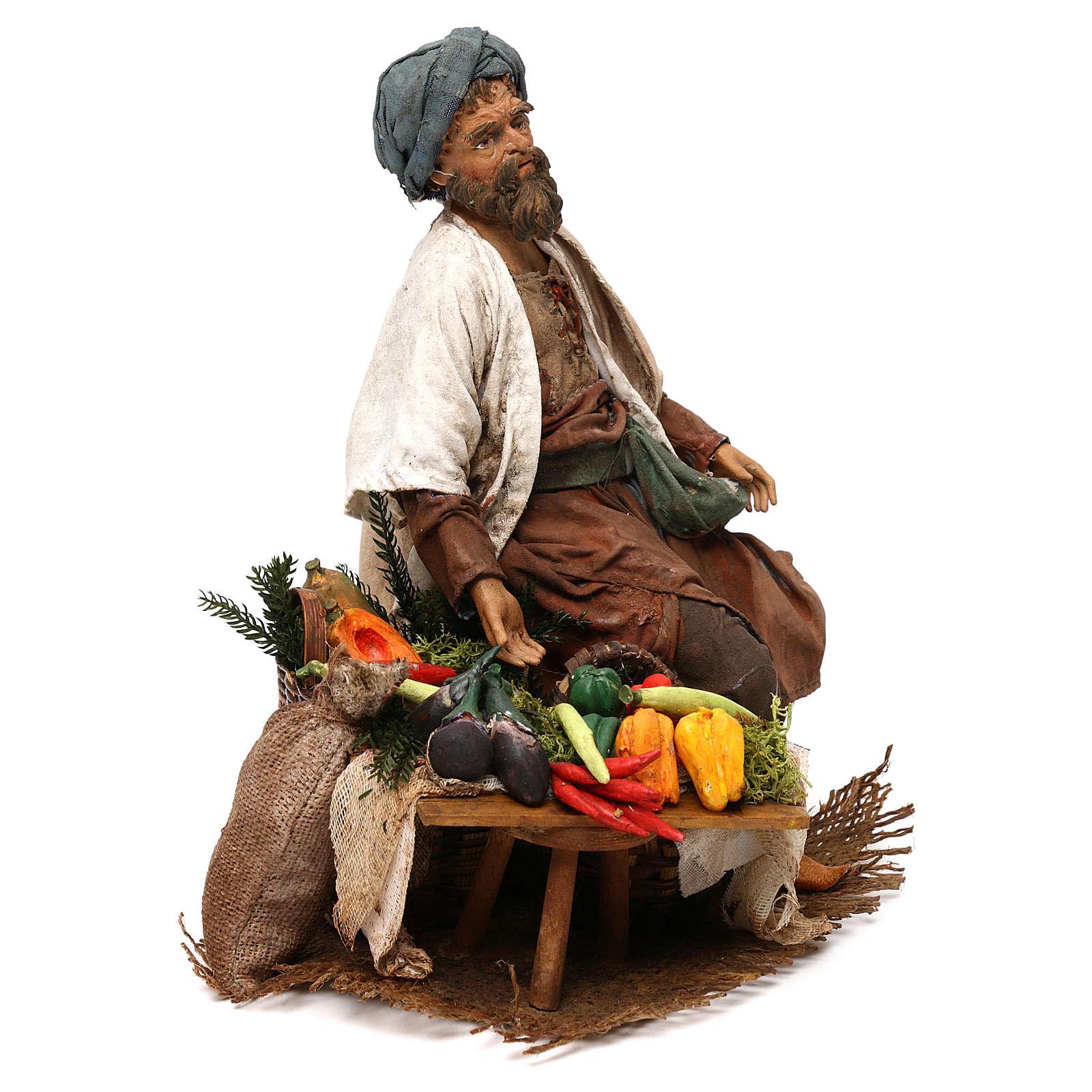 Camponês com legumes 18 cm presépio Angela Tripi 4