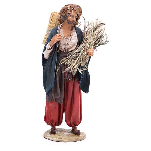 Pastore con paglia 18 cm presepe Angela Tripi 1