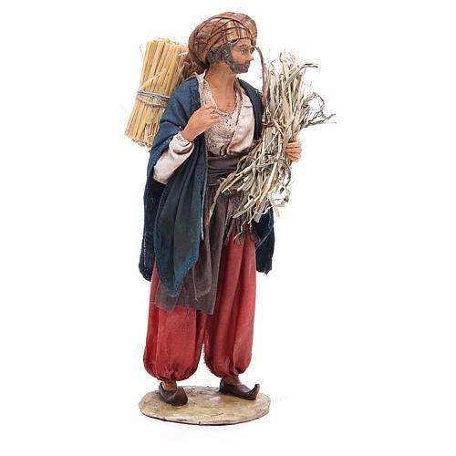 Pastore con paglia 18 cm presepe Angela Tripi 4