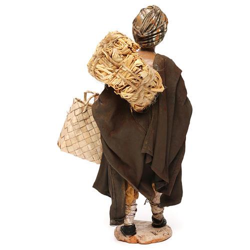 Pastore con paglia 18 cm presepe Angela Tripi 5