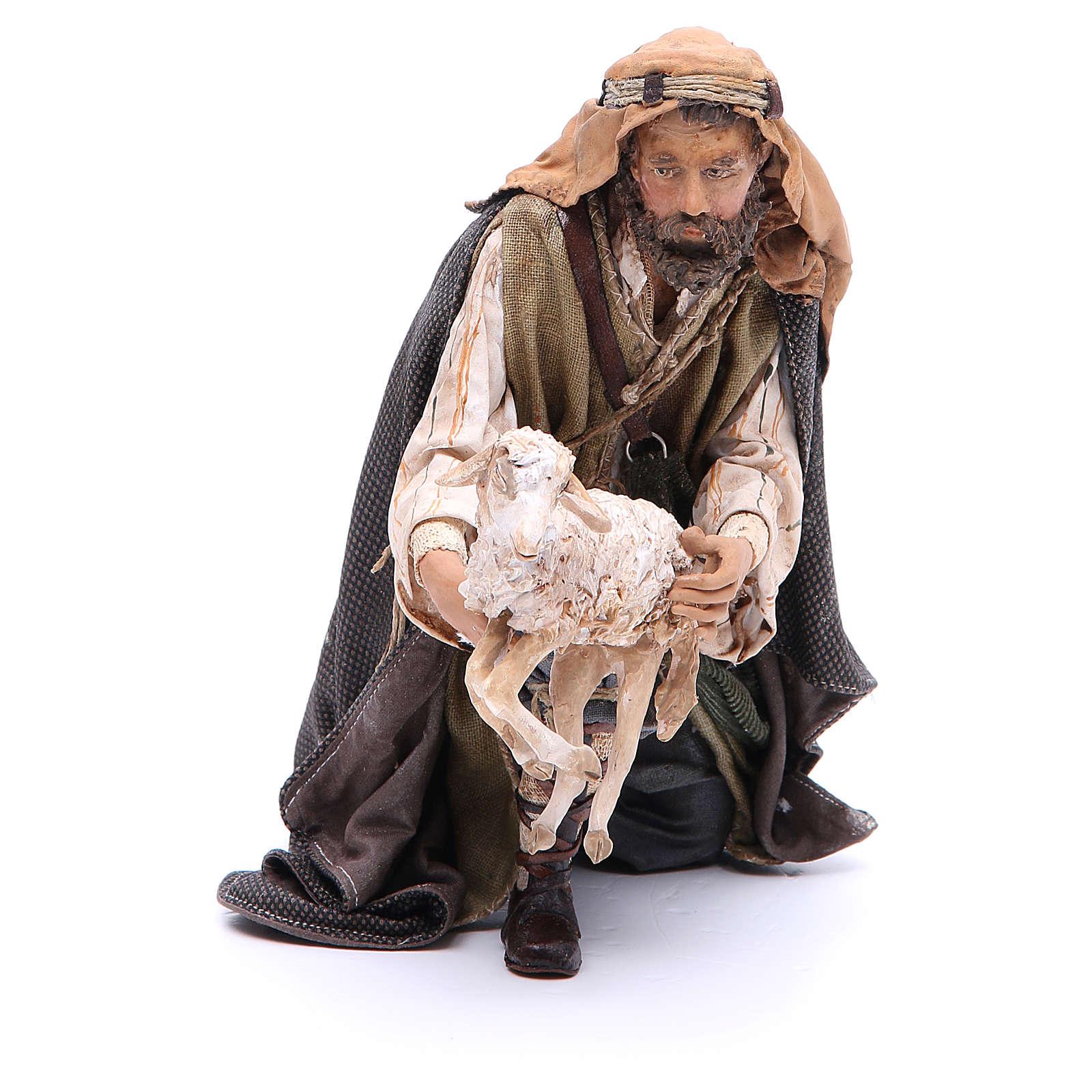 Pastore con capra 30 cm presepe Angela Tripi 4