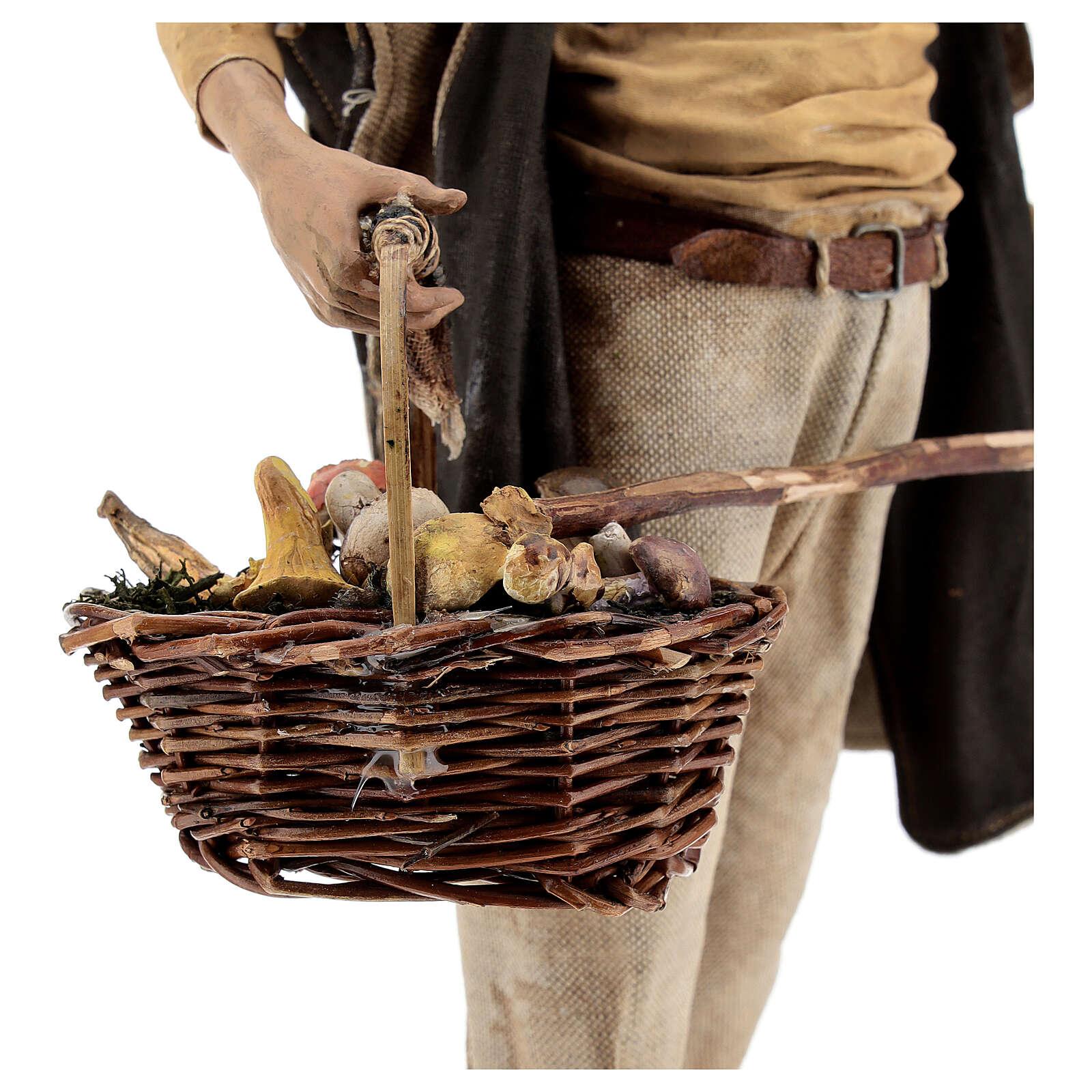 Paysan avec champignons 30 cm crèche Angela Tripi 4