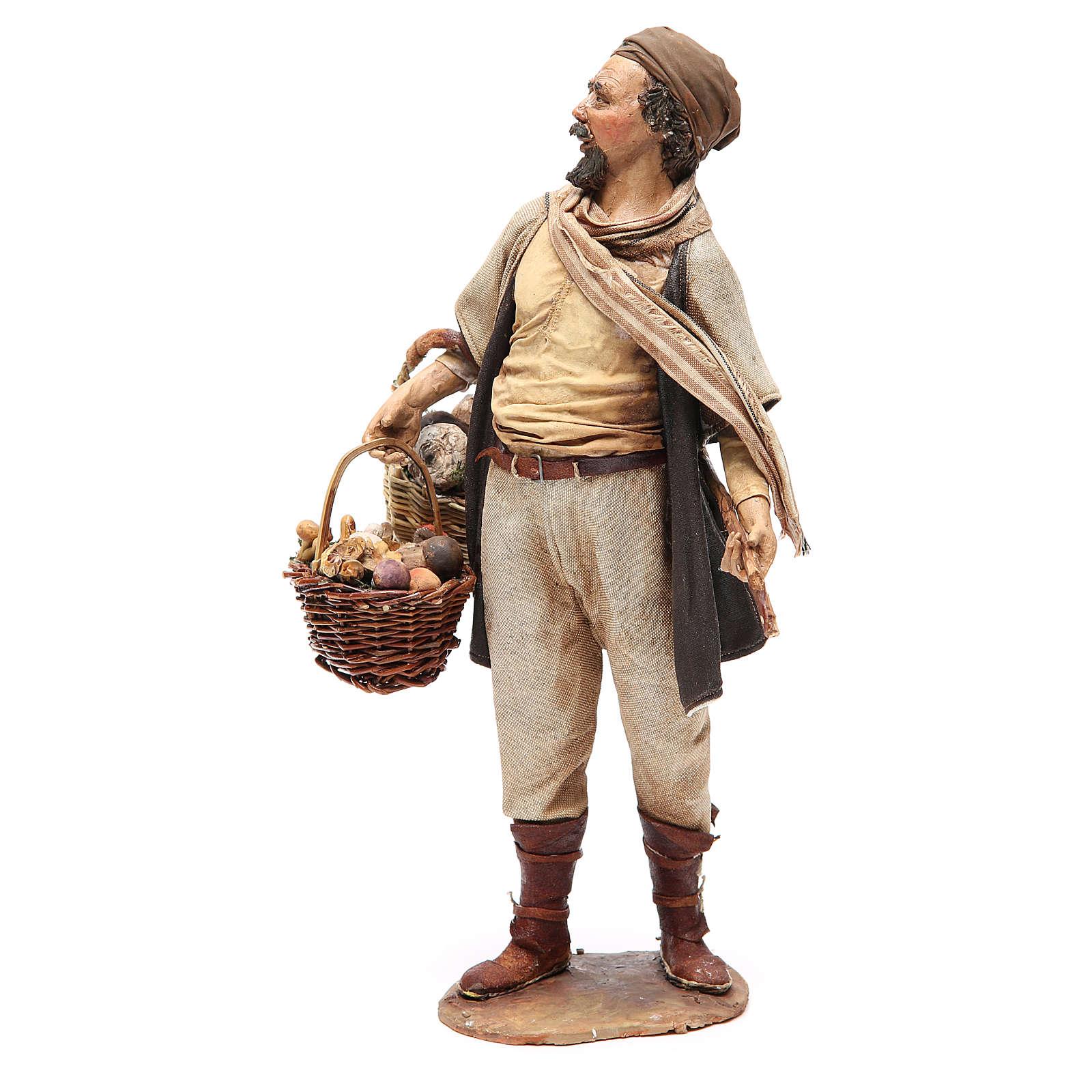 Farmer with basket of mushrooms 30cm Angela Tripi 4