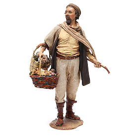 Farmer with basket of mushrooms 30cm Angela Tripi s1