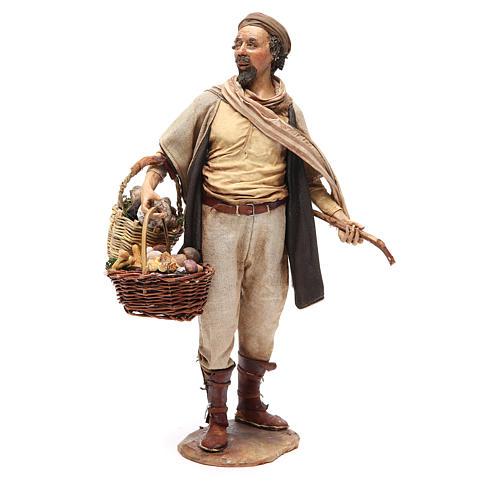 Farmer with basket of mushrooms 30cm Angela Tripi 1