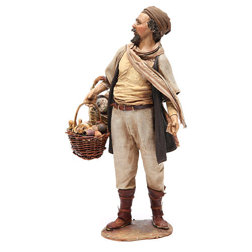 Farmer with basket of mushrooms 30cm Angela Tripi 2