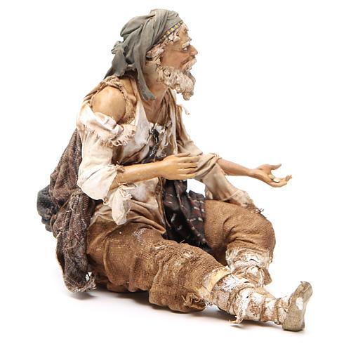 Mendiant assis 30 cm crèche Angela Tripi 4