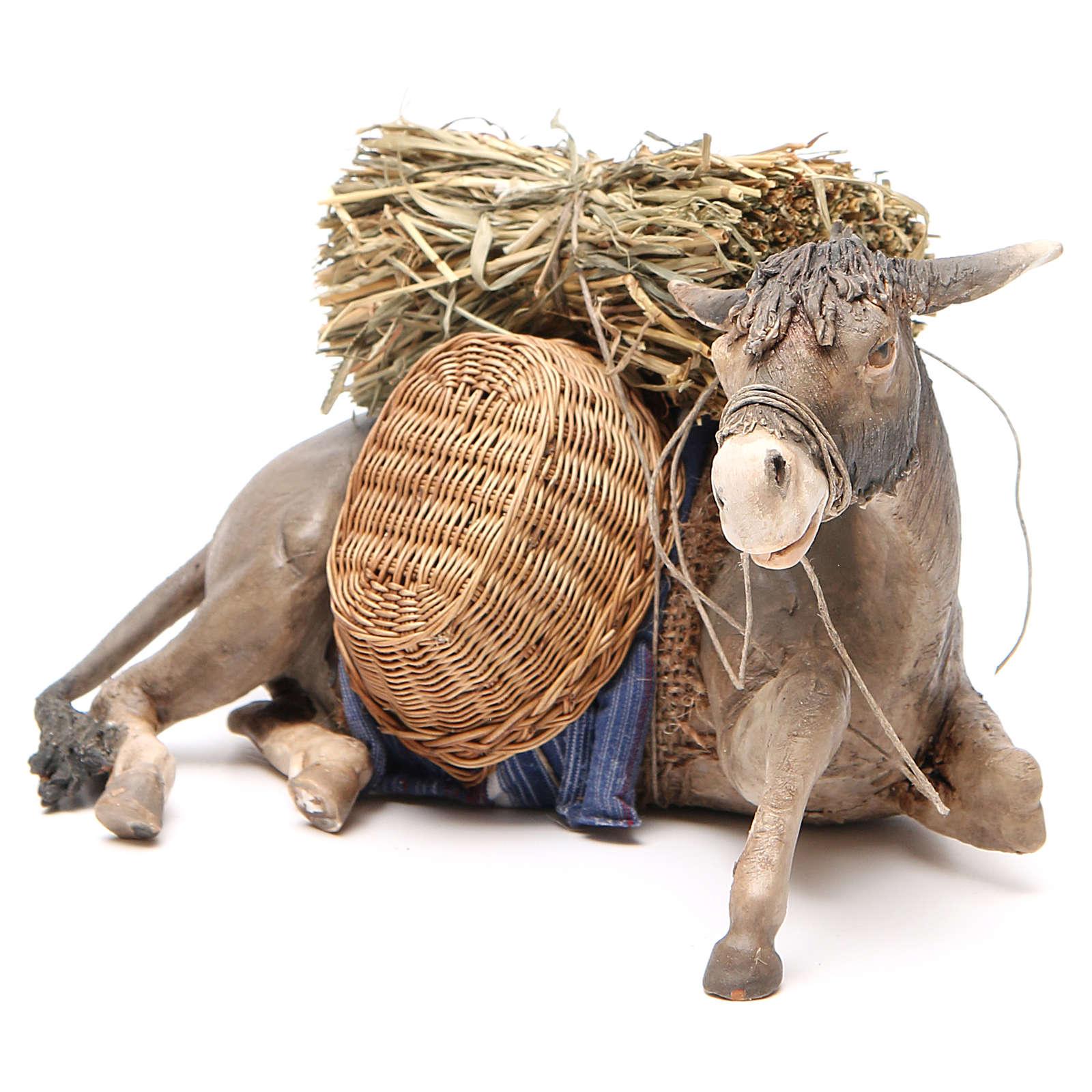 Laying donkey 30cm, Angela Tripi Nativity figurine 4