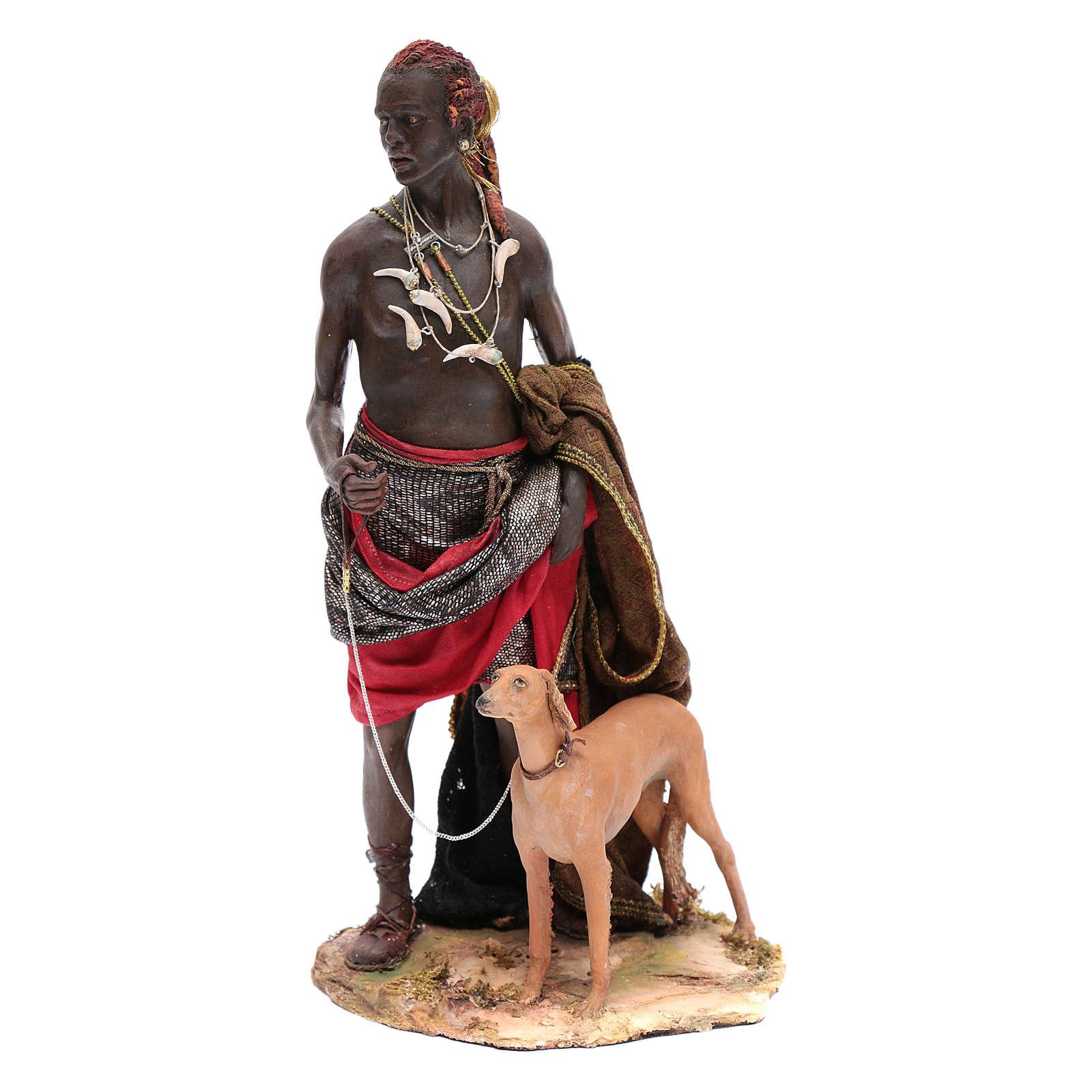 Servant avec chien 30 cm crèche Angela Tripi 4