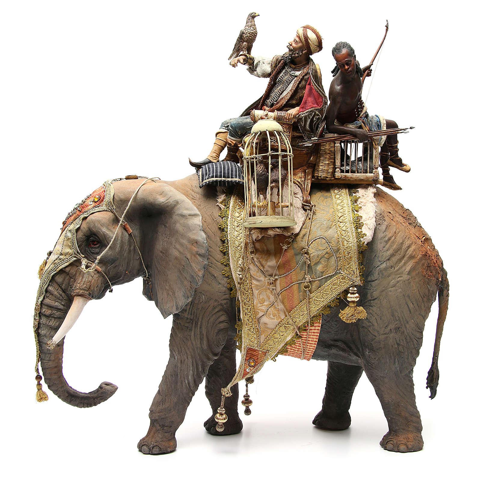Éléphant avec Roi et serviteur crèche Angela Tripi 30 cm 4