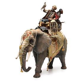 Éléphant avec Roi et serviteur crèche Angela Tripi 30 cm s1