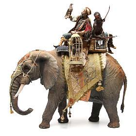 Éléphant avec Roi et serviteur crèche Angela Tripi 30 cm s2