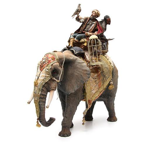 Éléphant avec Roi et serviteur crèche Angela Tripi 30 cm 1