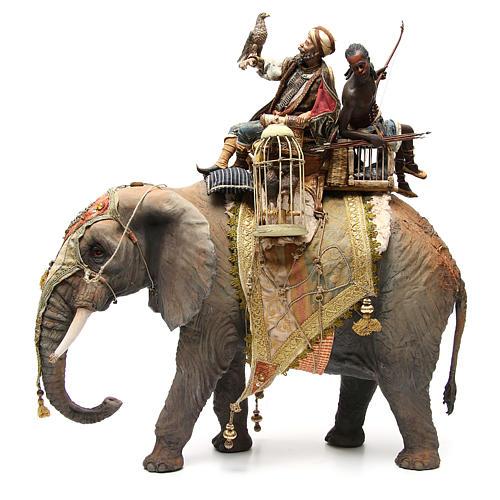 Éléphant avec Roi et serviteur crèche Angela Tripi 30 cm 2