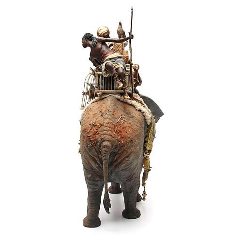 Éléphant avec Roi et serviteur crèche Angela Tripi 30 cm 3