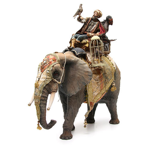 Elephant with King and servant 30cm Angela Tripi 1