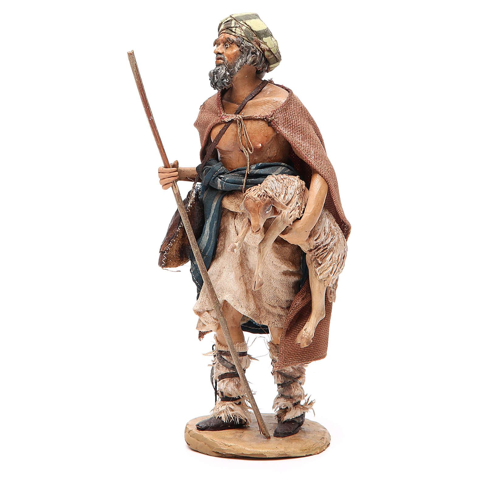 Viandante con pecora Presepe Angela Tripi 18 cm 4