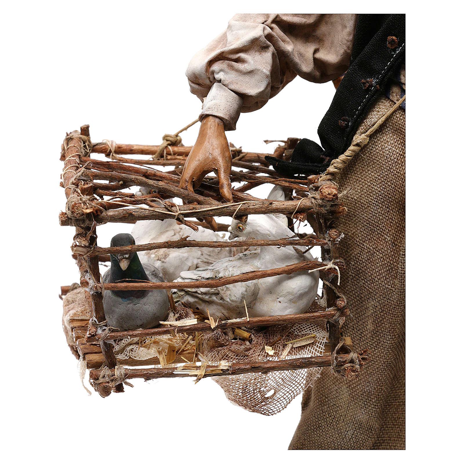 Venditore di uccelli con gabbia cm 30 Angela Tripi 4