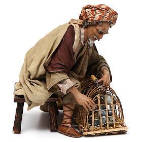 Venditore di uccelli con gabbia cm 30 Angela Tripi s5
