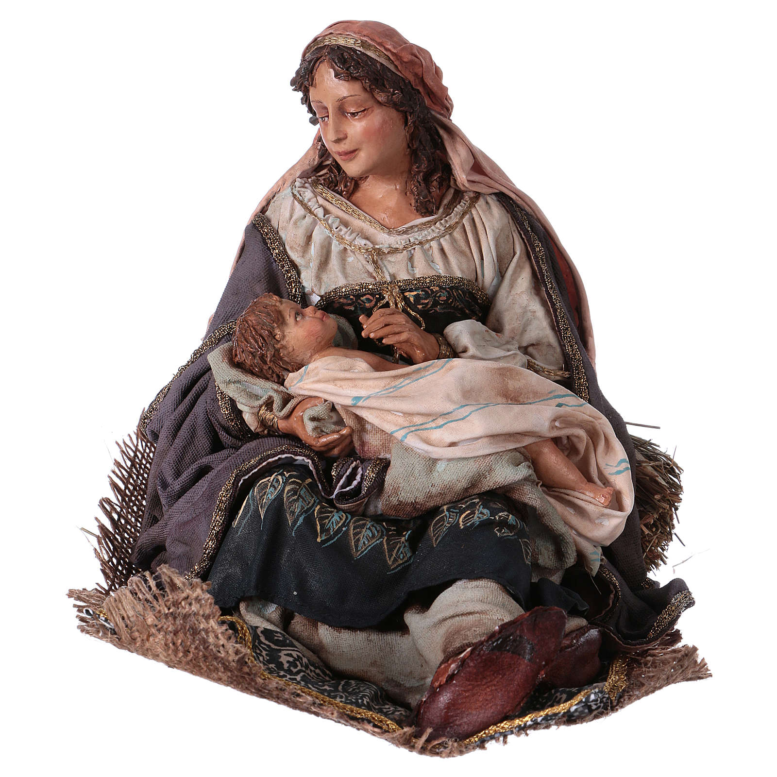 Maria con bambino sulle gambe 30 cm Angela Tripi 4