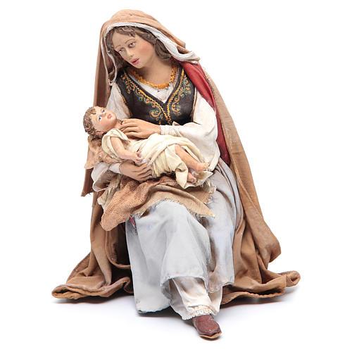 Maria con bambino sulle gambe 30 cm Angela Tripi 1