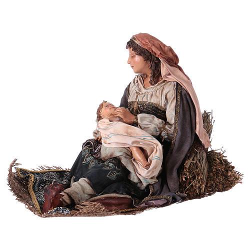 Maria con bambino sulle gambe 30 cm Angela Tripi 3