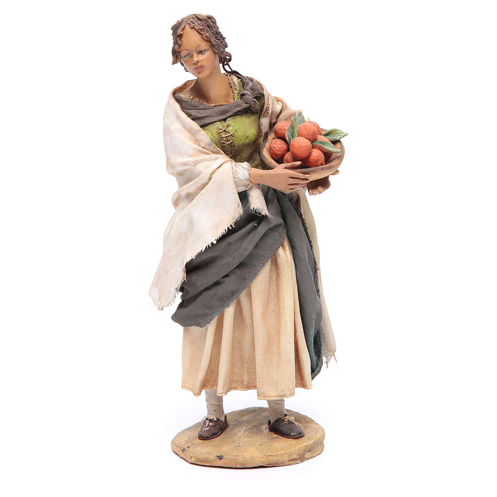 Femme debout avec panier d'oranges 18 cm Angela Tripi 4
