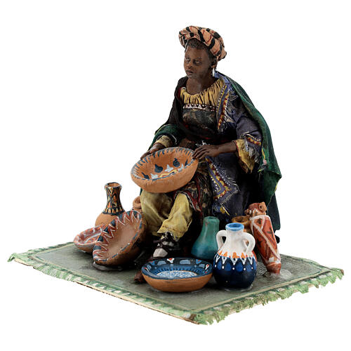 Moor Woman sitting with pottery 18cm Angela Tripi 3