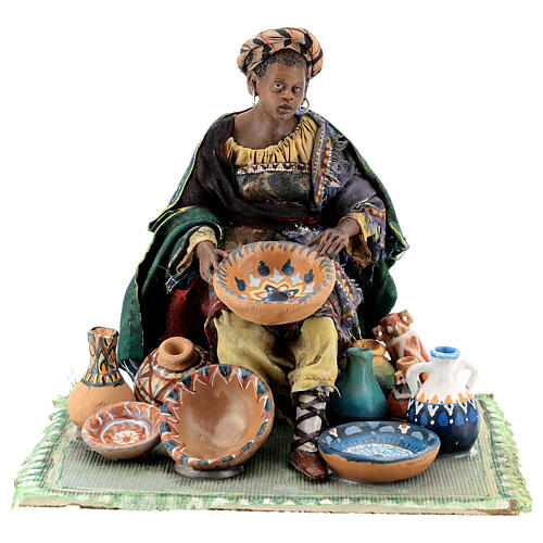 Moor Woman sitting with pottery 18cm Angela Tripi 1