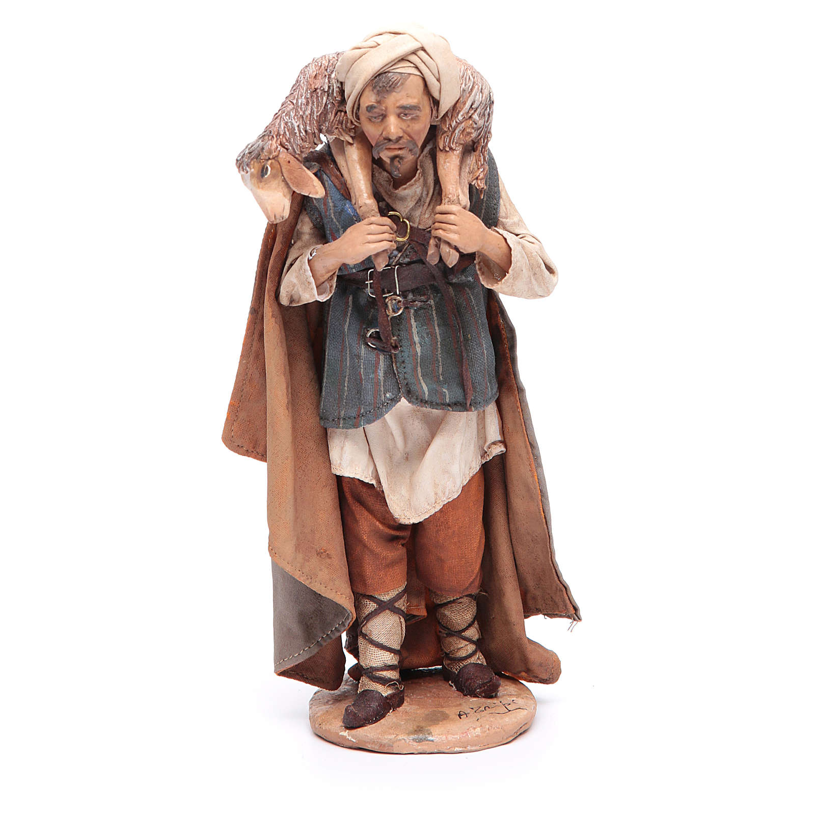 Pastore con pecora sulle spalle 18 cm Angela Tripi 4