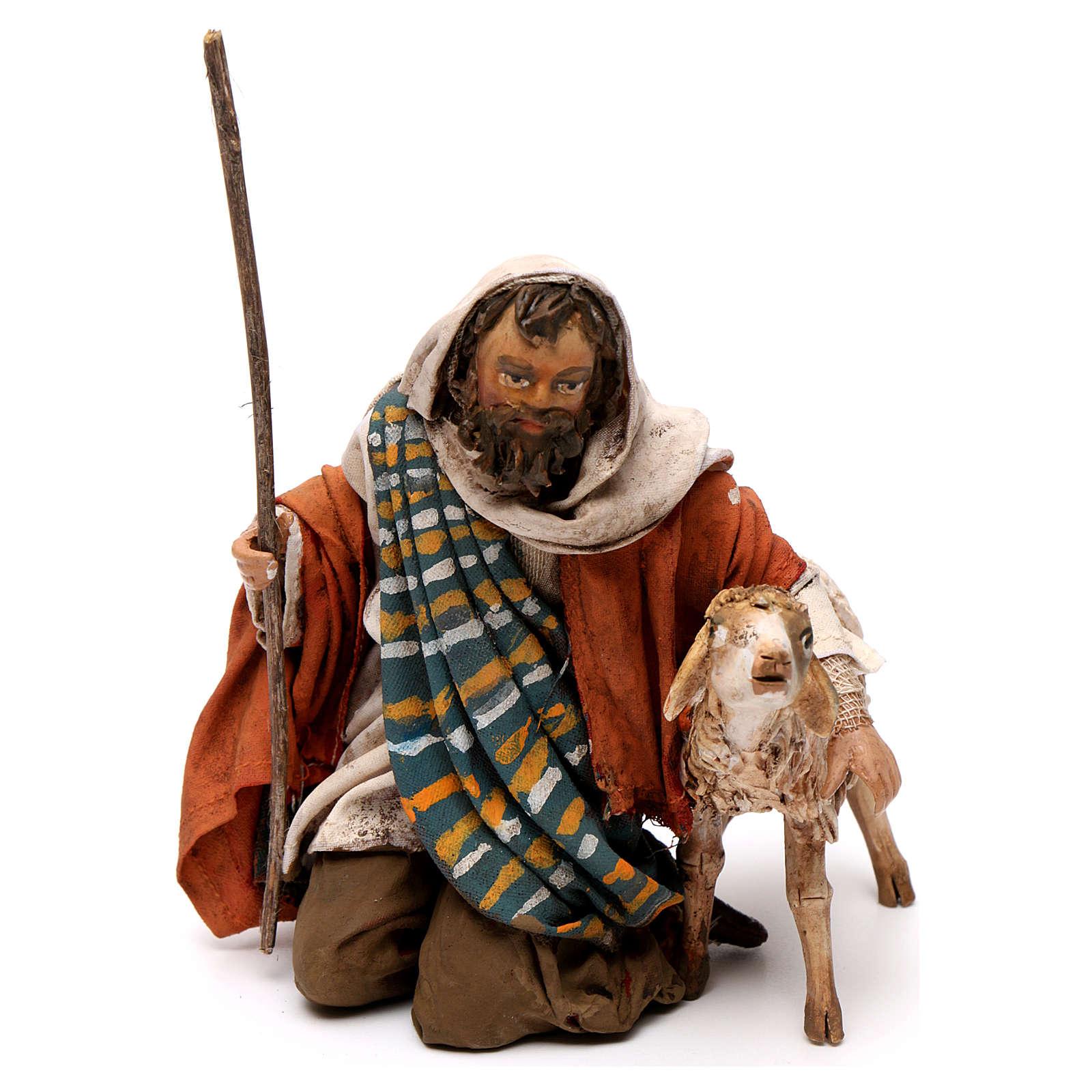 Pastore in ginocchio con pecore 13 cm Angela Tripi 4
