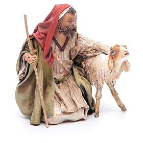 Pastore in ginocchio con pecore 13 cm Angela Tripi s3