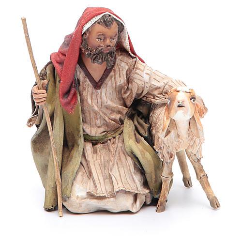 Pastore in ginocchio con pecore 13 cm Angela Tripi 1