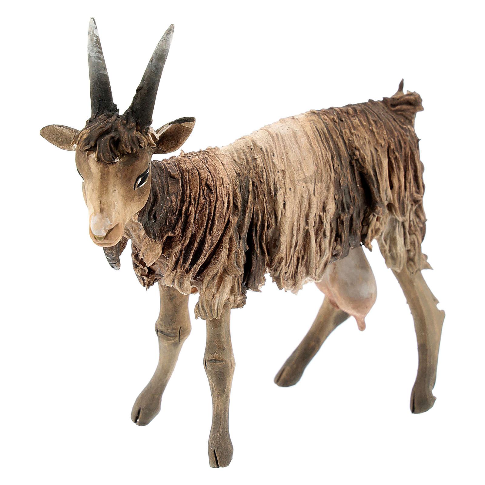 Chèvre blanche marron tête haute 13 cm Angela Tripi 4