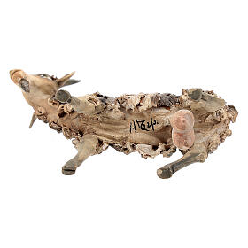 Chèvre blanche marron tête haute 13 cm Angela Tripi s6