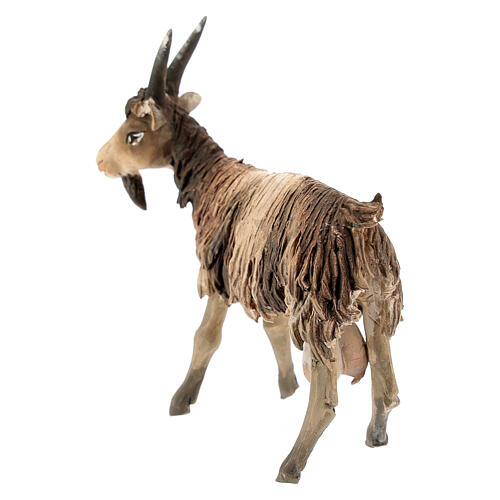 Chèvre blanche marron tête haute 13 cm Angela Tripi 5