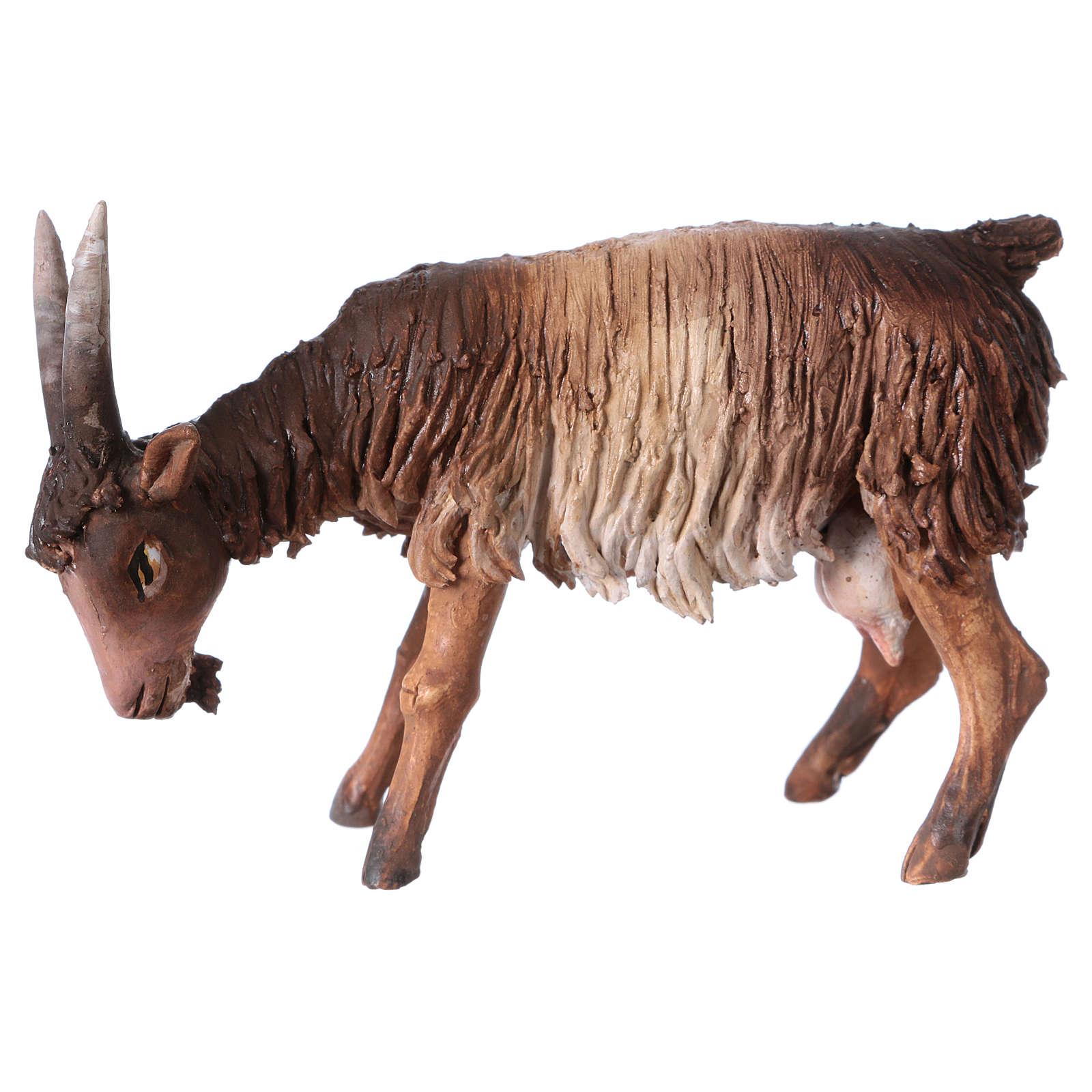Chèvre blanche marron tête baissée 13 cm Angela Tripi 4