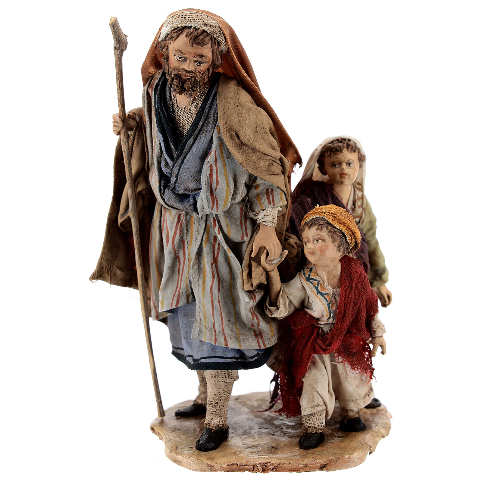 Pastor con dos chicos 13 cm belén Angela Tripi 4