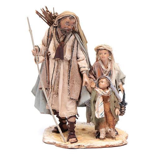 Pastor con dos chicos 13 cm belén Angela Tripi 1