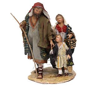 Berger avec deux garçons 13 cm crèche Angela Tripi s1