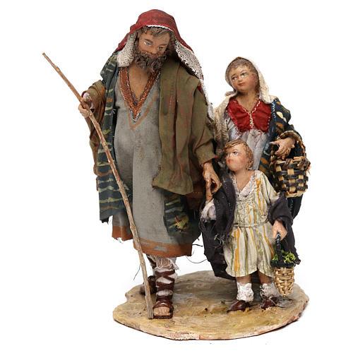 Berger avec deux garçons 13 cm crèche Angela Tripi 1