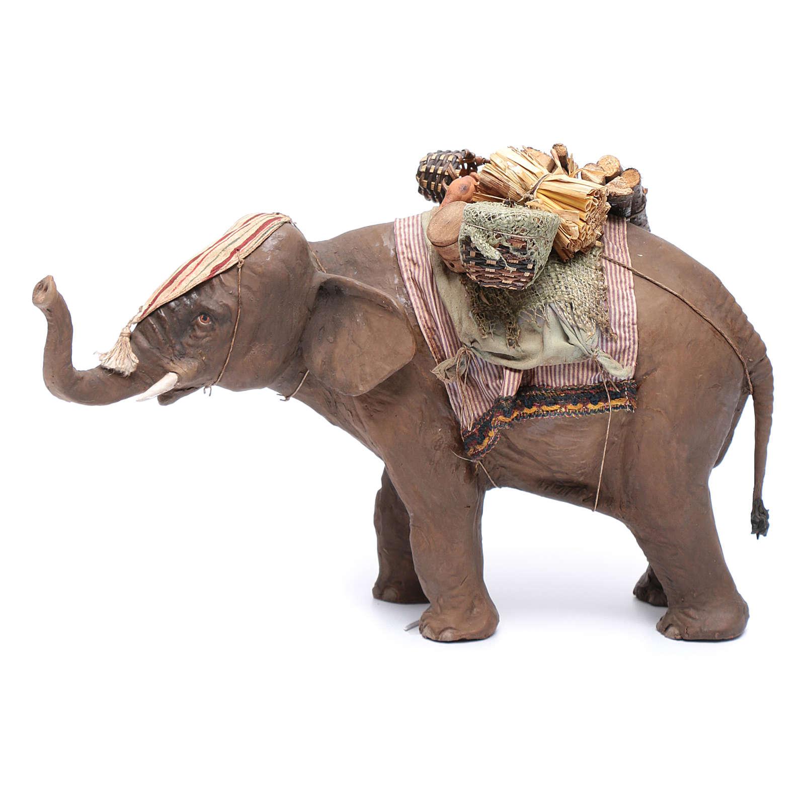 Éléphant avec chargement 13 cm crèche Angela Tripi 4