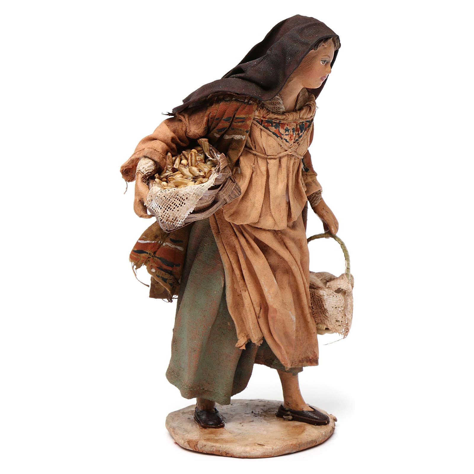 Mujer con cesta de semillas 13 cm belén Angela Tripi 4